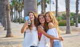 Teen best friends girls group shooting selfie - 182719768