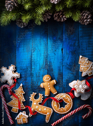 Christmas background with Christmas gingerbread and Christmas Candy Canes - 182719753