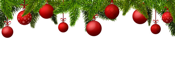 New Year banner with red Christmas balls. Vector illustration