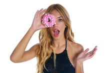 Teen Girl Holding Donuts Goggles On Her Eyes Sticker