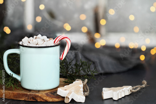 Tuinposter Chocolade Hot Cocoa Candy Canes and Marshmallows