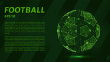 A soccer ball consists of points, lines and triangles. The polygon shape in the form of a ball on a dark background. Vector illustration. Graphic concept of football