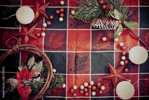 Tuinposter Bol christmas decoration over dark background