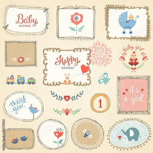Kids elements, hand drawn frames, flowers, birds, little girl, cartoon elephant. - 182728122