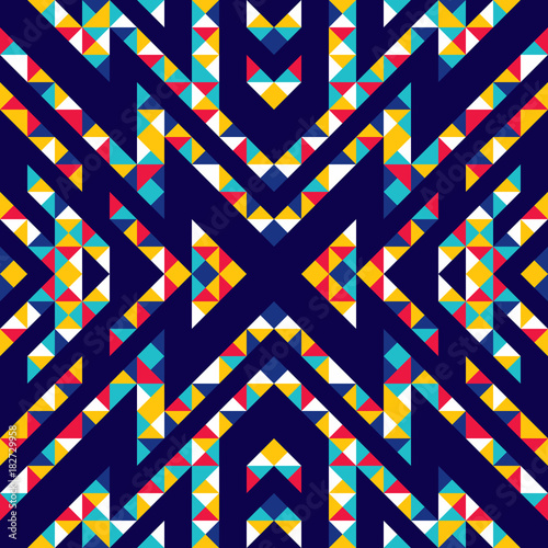 Seamless pattern of triangles and lines. Zigzags and sharp corners. Movement of geometric shapes. - 182729958