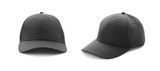 Baseball cap black templates, front views isolated on white background - 182732957
