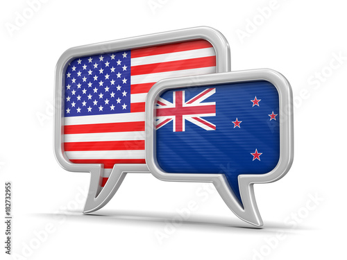 Speech bubbles with flags. Image with clipping path Poster