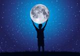 lune - enfant - rêve - étoile - ciel étoilé - concept - clair de lune - symbole - rêver - enfance - 182734161