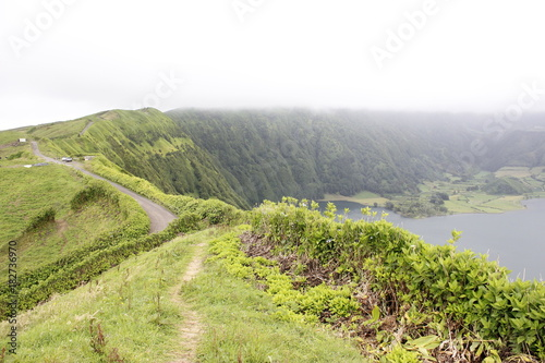 Fotobehang Pistache Lagoa das Sete Cidades, Açores