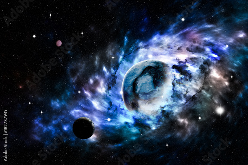 In de dag Nasa Universe scene with planets, stars and galaxies in outer space . Elements furnished by NASA