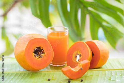 Poster Sap Tropical exotic papaya fruit and glass jar with smoothie shake juice drink outdoors with palm leaves