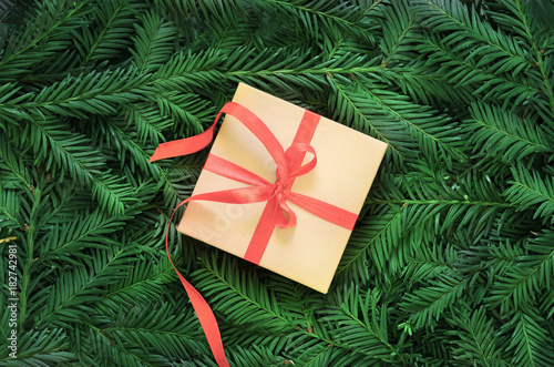 Fotobehang Natuur Christmas: box with a gift, spruce branches.
