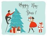 Hand drawn vector abstract fun Merry Christmas time cartoon card poster template with cute illustrations of family people,xmas tree and surprise gift boxes isolated on white background - 182743745