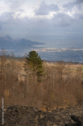 Foto op Plexiglas Diepbruine Lava soil from Etna volcano in the background on the left Taormina