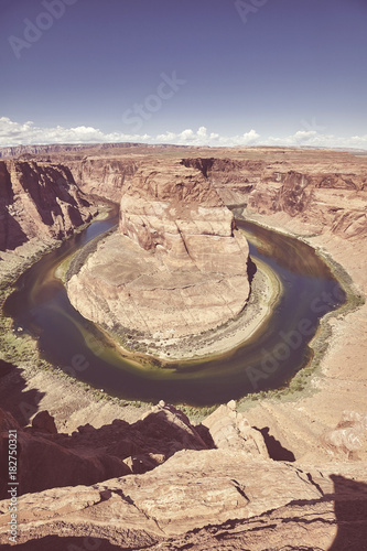 Wide angle picture of the Horseshoe Bend and Colorado River, color toned picture, Arizona, USA.