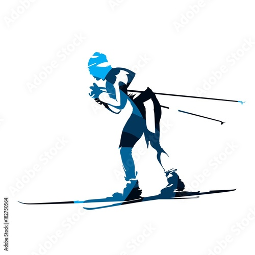 Cross country skier, abstract blue vector silhouette, side view