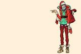 Hipster Santa Claus pointing sideways - 182751932