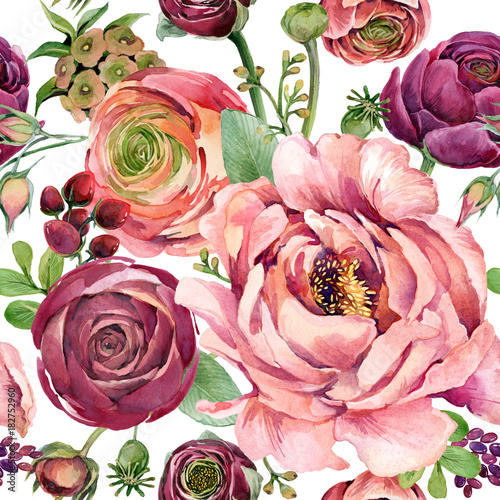 watercolor flowers seamless pattern. hand-drawn botanical illustration. floral composition for congratulations. - 182752960