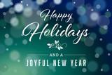Dark Green Happy Holidays and Joyful New Year Horizontal Vector 2 - 182760788