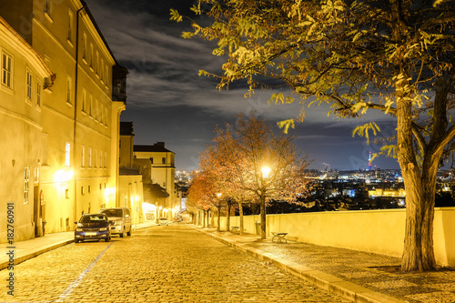 Staande foto Praag Prague, Czechia - November, 23, 2017: street in a center of Prague at night