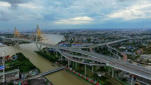 Sticker Aerial Shot : Bhumibol Bridge in Samut Prakan, Thailand