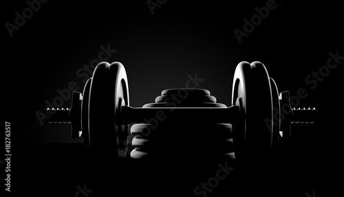 Plexiglas Fitness Dumbbell on black background