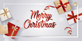 Merry Christmas greeting card. Vector illustration concept for greeting cards, web banner, flayer brochure, party invitation card. - 182764784