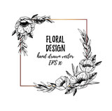 Vector illustrations - Winter gold square label with anemones and floral elements. Hand drawn Christmas frame. Perfect for invitations, greeting cards, tattoo, prints, postcards etc - 182768112