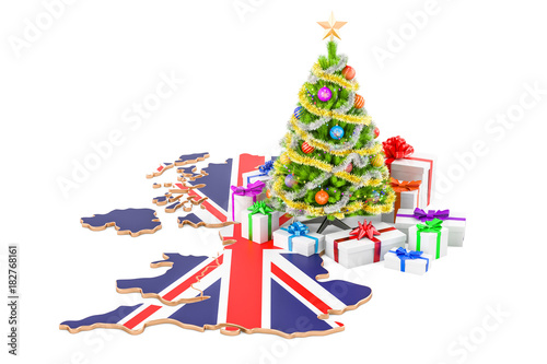Christmas and New Year holidays in Great Britain concept. 3D rendering
