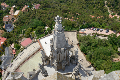 Foto op Canvas Barcelona Top view from Sagrat Cor Temple on Tibidabo mountain, Barcelona.