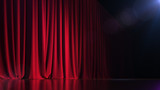 Dark empty stage with rich red curtain. 3d render - 182770380
