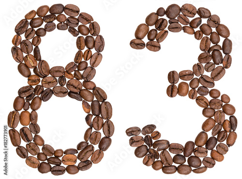Poster Arabic numeral 83, eighty three, from coffee beans, isolated on white background