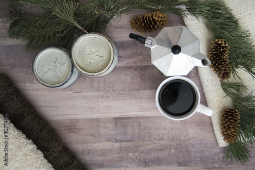 coffee and espresso maker on wood floor top view for winter and christmas