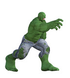 Angry Green Giant isolated on white. 3d render