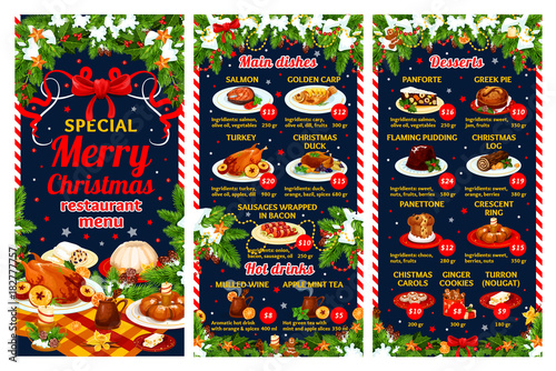 Christmas restaurant menu of winter holiday dinner