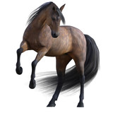 Beautiful Bay Horse isolated on white. 3d render