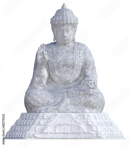 Aluminium Boeddha Stone Buddah Statue isolated on white. 3D Render
