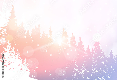 Foto op Canvas Wit Winter Landscape Snowy Forest Pine Tree Woods Background Flat Vector Illustration