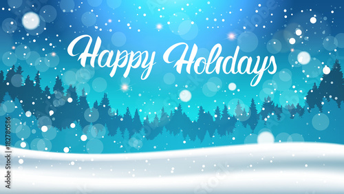 Foto op Canvas Turkoois Happy Holidays Background Night In Winter Forest Landscape Falling Snow Flat Vector Illustration