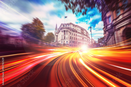 Foto op Canvas Londen Abstract motion speed background of London City