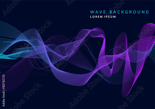 Abstract background with dynamic particle sound waves. Wave of musical soundtrack for record. Vector illustration