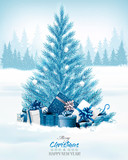Christmas holiday background with a blue tree and presents. Vector. - 182783938