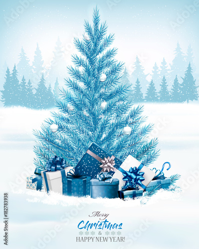 Foto op Canvas Hoogte schaal Christmas holiday background with a blue tree and presents. Vector.
