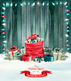 Holiday Christmas background with a sack full of gift boxes and garland. Vector. - 182784195
