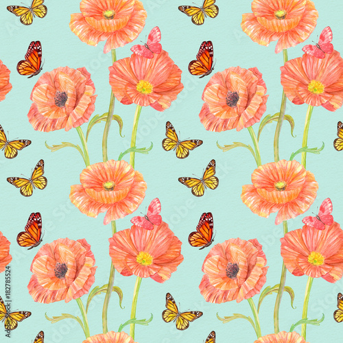 retro seamless texture with red poppies and butterflies. watercolor painting