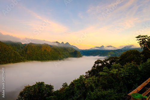 Staande foto Beige high mountains peaks range clouds in fog scenery landscape national park view outdoor at Doi Ang Khang, Chiang Mai Province, Thailand