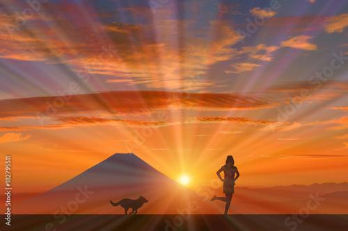 Poster Oranje eclat 犬と女性に富士山と朝日