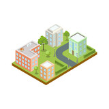 Small town architecture isometric icon - 182798115