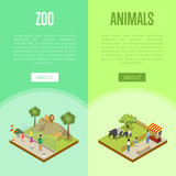Public zoo isometric 3D posters set - 182798901