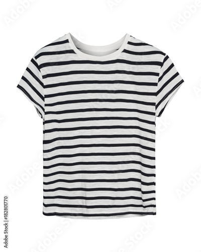 Black and white stripped sailor style t shirt isolated